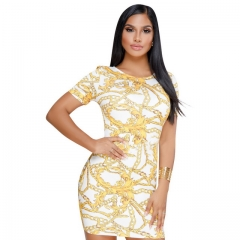Women's Classic Vintage Gold Print Dress