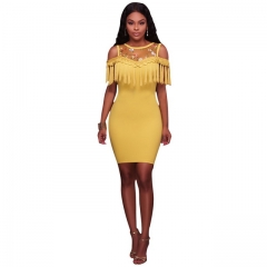 Women's Sexy Transparent Lace Fringe Slim Dress