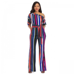 Women's classic color striped print jumpsuit