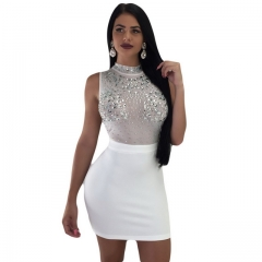Women's white sexy sequined mesh dress