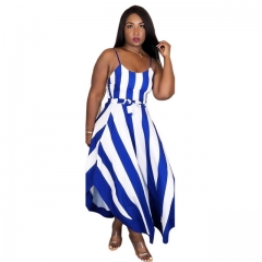 Women's Classic Blue Striped Shoulder Strap Dress