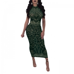 Women's Fashion Sexy Green Perspective Print Dress