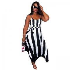 Women's Classic Black Striped Shoulder Strap Dress