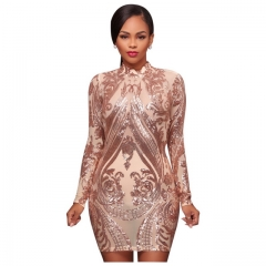 Women's Sexy Positioning Embroidered Sequined Stand Collar Dress