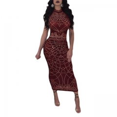 Women's fashion sexy burgundy perspective print dress
