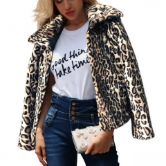 New Leopard Jacket Fashion Faux Fur Women's Lapel Jacket
