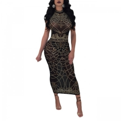 Women's fashion sexy black perspective print dress
