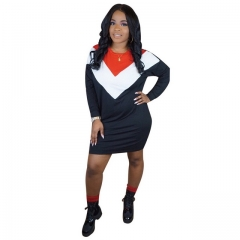 Women's black street wear colorblock dress