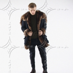 European and American autumn and winter men's faux fur long coat