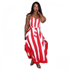 Women's Classic Red Striped Shoulder Strap Dress