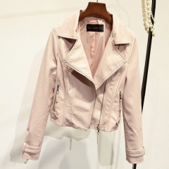 Women's pu leather slim coat motorcycle suit leather jacket