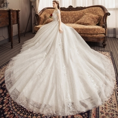 Bridal high-end lace short-sleeved big tail wedding dress