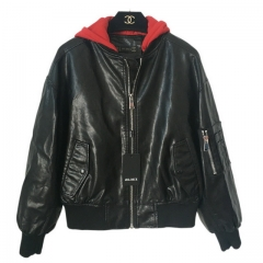 Loose version of Little Red Riding H pu ladies leather jacket