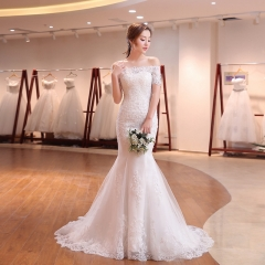 Bridal fishtail simple sleeves tail wedding dress