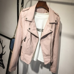 Pink small leather ladies leather jacket