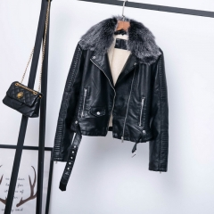 Detachable fur collar and cotton warm leather jacket