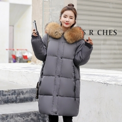 New female long section thick down jacket