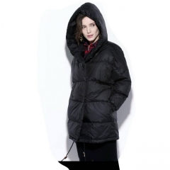 New Korean version of self-cultivation large size long fur collar hooded down jacket