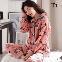Winter Women's Long Sleeve Korean Warm Coral Velvet Cardigan Pajamas