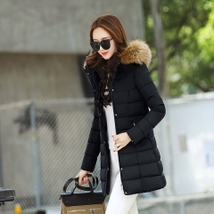 Female Korean version of the large size slim hooded coat