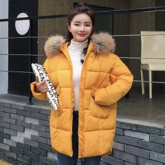 Winter new thick hooded fur collar down jacket