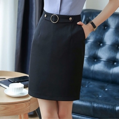 Women's black professional skirt with pocket bag hip skirt