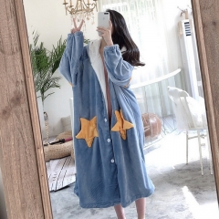 Winter explosion star hooded casual loose dressing gown