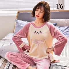 New autumn and winter flannel ladies pajamas set