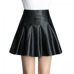 Women's PU leather high waist slim small leather skirt