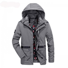 New Korean version of the long solid color hooded jacket
