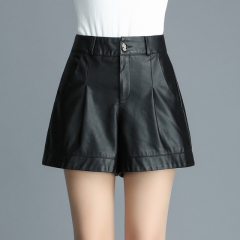 Women's loose casual pu leather high waist leather pants