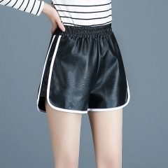 Women's PU leather high waist stretch pants shorts