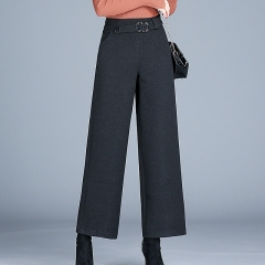 Women's autumn and winter wool high waist stretch casual pants