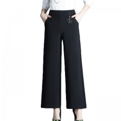 Women's casual high-rise cropped wide-leg pants