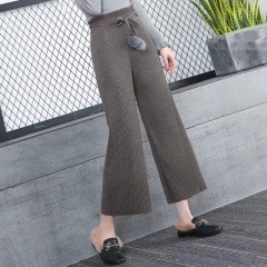 Women's woolen loose high waist retro pleated cropped trousers