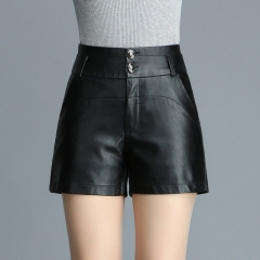 Women's high waist casual Slim PU leather pants shorts