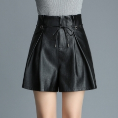 Women's pu leather high waist loose outer pocket shorts