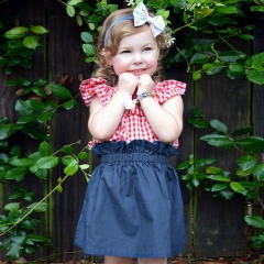 New children's lotus leaf collar plaid shirt + baby lace denim skirt two-piece