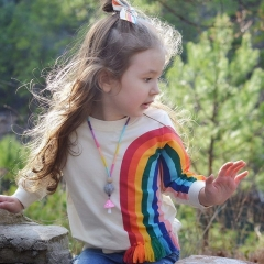 New children's rainbow pattern baby tassel long-sleeved T-shirt