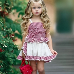 Children's big bow plaid shirt + baby pleated skirt two-piece