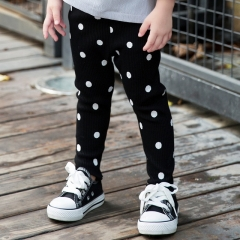 Spring new children's dot fungus lace feet pants