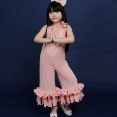 Explosive models girls solid color jumpsuit bow pleated bell pants
