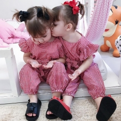 Ins explosion summer  children's plaid strap pant baby bow jumpsuit
