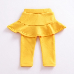 Autumn and winter new Korean girls plus velvet solid color wild simple culottes