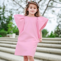 Explosion children's solid color small flying sleeve dress