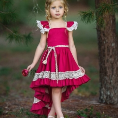 Girls small flying sleeves swallowtail dress baby lace backless irregular skirt