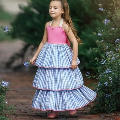 Ins explosion models girl big bow tie skirt baby plaid print cake skirt