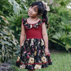 Ins explosion summer girl print dress baby doll collar back strap dress