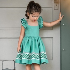 Explosion models girls small flying sleeves dress baby plaid halter strap dress