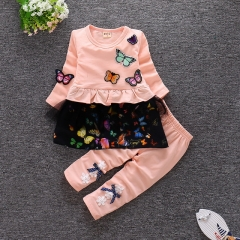 Korean version of the cartoon girl autumn butterfly long sleeve suit baby cotton two-piece suit